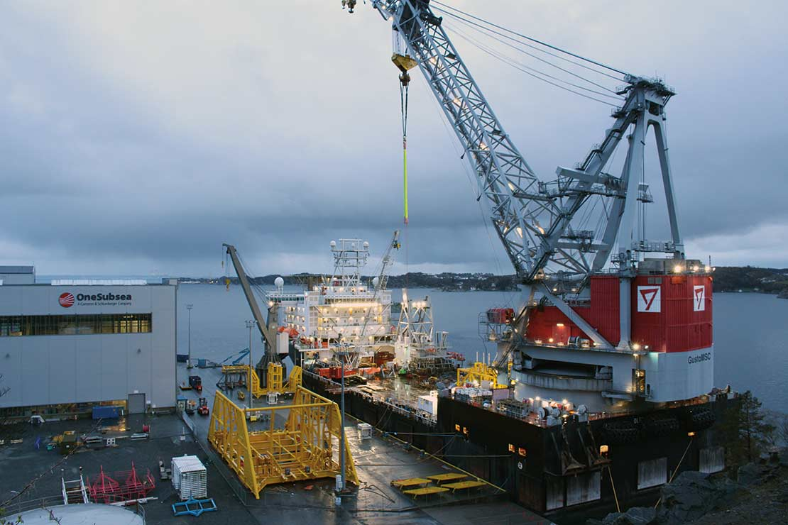 Components of a multiphase compressor for subsea processing applications are loaded onto a vessel in Horsøy, Norway