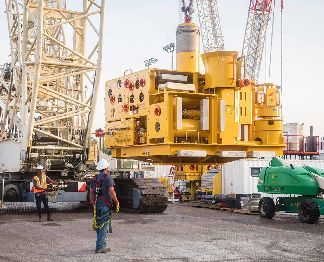 Subsea tree being loaded onto bed