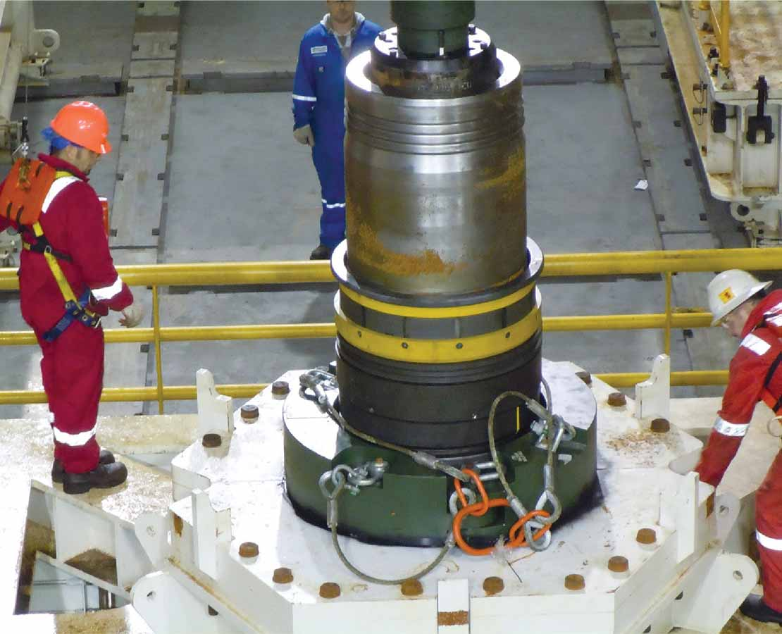 Subsea wellhead on rig floor