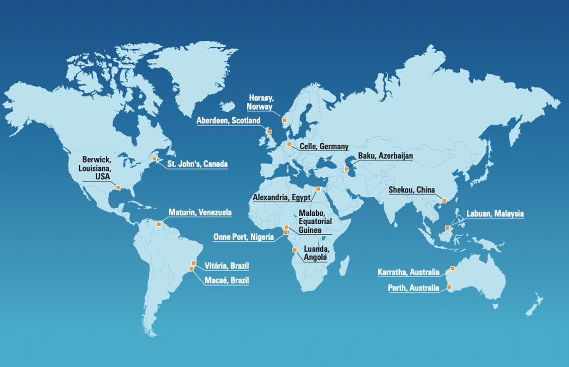 Worldwide subsea services locations.